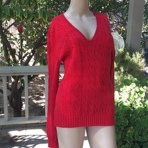 Ralph Lauren Sport Red V-Neck Sweater